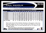 2012 Topps Update #153  Paul Maholm  Back Thumbnail