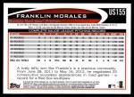 2012 Topps Update #155  Franklin Morales  Back Thumbnail