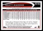 2012 Topps Update #163  Scott Diamond  Back Thumbnail