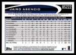 2012 Topps Update #222  Jairo Asencio  Back Thumbnail
