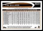 2012 Topps Update #231  Tim Dillard  Back Thumbnail