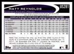 2012 Topps Update #281  Matt Reynolds  Back Thumbnail