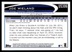 2012 Topps Update #306  Joe Wieland  Back Thumbnail
