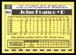 1990 Topps Traded #32 T John Franco  Back Thumbnail
