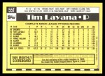 1990 Topps Traded #55 T Tim Layana  Back Thumbnail