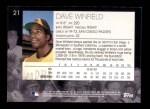 2001 Topps American Pie #21  Dave Winfield  Back Thumbnail