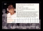 2001 Topps American Pie #64  Orlando Cepeda  Back Thumbnail