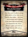 2010 Topps Cards Your Mom Threw Out #16 CMT Willie McCovey  Back Thumbnail