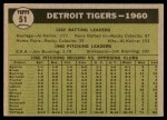 1961 Topps #51   Tigers Team Back Thumbnail