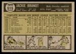 1961 Topps #515  Jackie Brandt  Back Thumbnail
