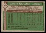 1976 Topps #444  Gary Nolan  Back Thumbnail