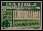 1977 Topps #92  Dave Rosello  Back Thumbnail