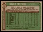 1976 Topps #469  Rawly Eastwick  Back Thumbnail