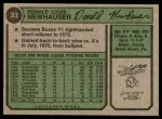 1974 Topps #33  Don Newhauser  Back Thumbnail