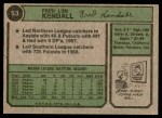 1974 Topps #53 SD Fred Kendall  Back Thumbnail