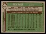 1976 Topps #170  Rick Wise  Back Thumbnail