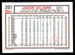1992 Topps #207  Jack Clark  Back Thumbnail