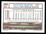 1992 Topps #260  Devon White  Back Thumbnail
