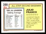 1992 Topps #398   -  Julio Franco All-Star Back Thumbnail