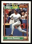 1992 Topps #398   -  Julio Franco All-Star Front Thumbnail