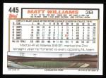 1992 Topps #445  Matt Williams  Back Thumbnail