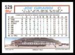 1992 Topps #529  Joe Girardi  Back Thumbnail