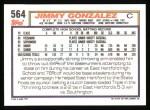 1992 Topps #564  Jimmy Gonzalez  Back Thumbnail