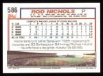 1992 Topps #586  Rod Nichols  Back Thumbnail