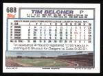1992 Topps #688  Tim Belcher  Back Thumbnail