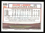 1992 Topps #689  Mark Lemke  Back Thumbnail