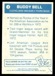 1977 Topps Cloth Stickers #2  Buddy Bell  Back Thumbnail