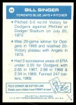 1977 Topps Cloth Stickers #44  Bill Singer  Back Thumbnail