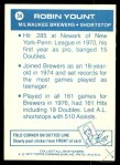 1977 Topps Cloth Stickers #54  Robin Yount  Back Thumbnail
