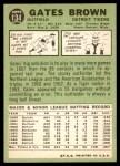 1967 Topps #134  Gates Brown  Back Thumbnail