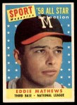 1958 Topps #480   -  Eddie Mathews All-Star Front Thumbnail