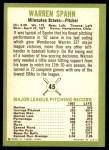 1963 Fleer #45  Warren Spahn  Back Thumbnail