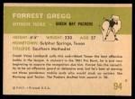 1961 Fleer #94  Forrest Gregg  Back Thumbnail