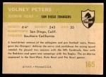 1961 Fleer #165  Volney Peters  Back Thumbnail