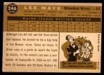 1960 Topps #246  Lee Maye  Back Thumbnail