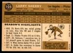1960 Topps #105  Larry Sherry  Back Thumbnail