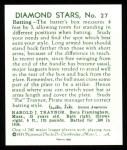 1934 Diamond Stars Reprint #27  Pie Traynor  Back Thumbnail