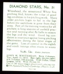 1934 Diamond Stars Reprint #51  John Whitehead  Back Thumbnail