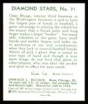 1934 Diamond Stars Reprint #71  Ossie Bluege  Back Thumbnail