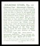 1934 Diamond Stars Reprint #101  Dick Bartell  Back Thumbnail