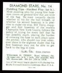1934 Diamond Stars Reprint #14  Bill Terry  Back Thumbnail