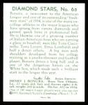 1934 Diamond Stars Reprint #65  Zeke Bonura  Back Thumbnail