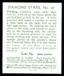 1934 Diamond Stars Reprint #97  Al Lopez  Back Thumbnail