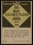 1961 Topps #476   -  Jackie Jensen Most Valuable Player Back Thumbnail