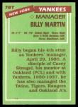 1985 Topps Traded #78 T Billy Martin  Back Thumbnail