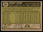 1961 Topps #500  Harvey Kuenn  Back Thumbnail